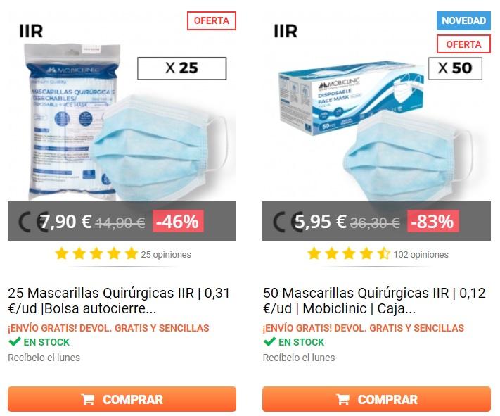 Mascarilla vendida como commodity en la web de Queraltó a fecha 6/11/2020
